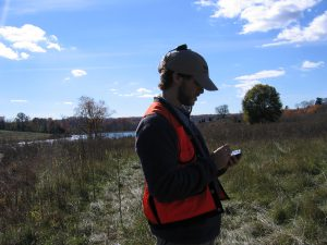 VOF stewardship specialist John Peters conducting a site visit.