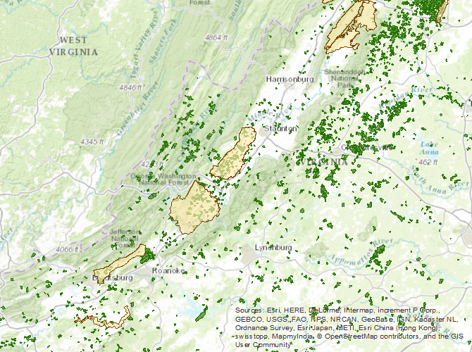 Interactive Map Of Virginia.Virginia Outdoors Foundation Explore Vof S Conserved Lands Online